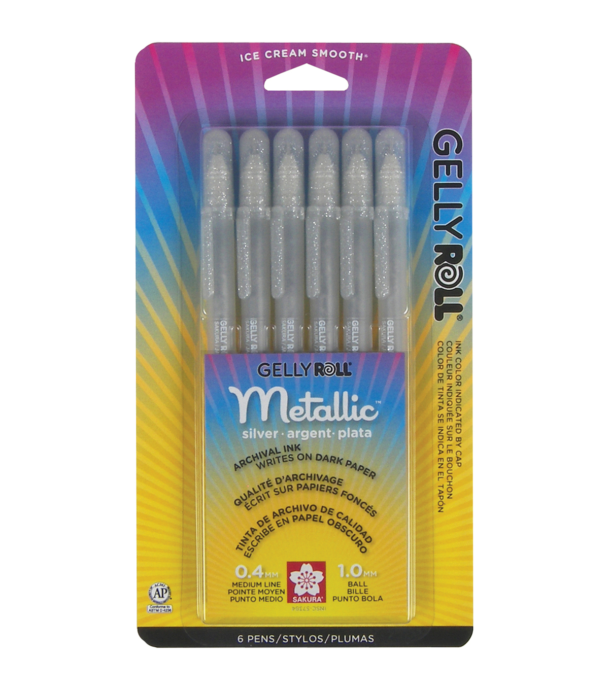 Gelly Roll Metallic Pens 6/Pkg-Silver