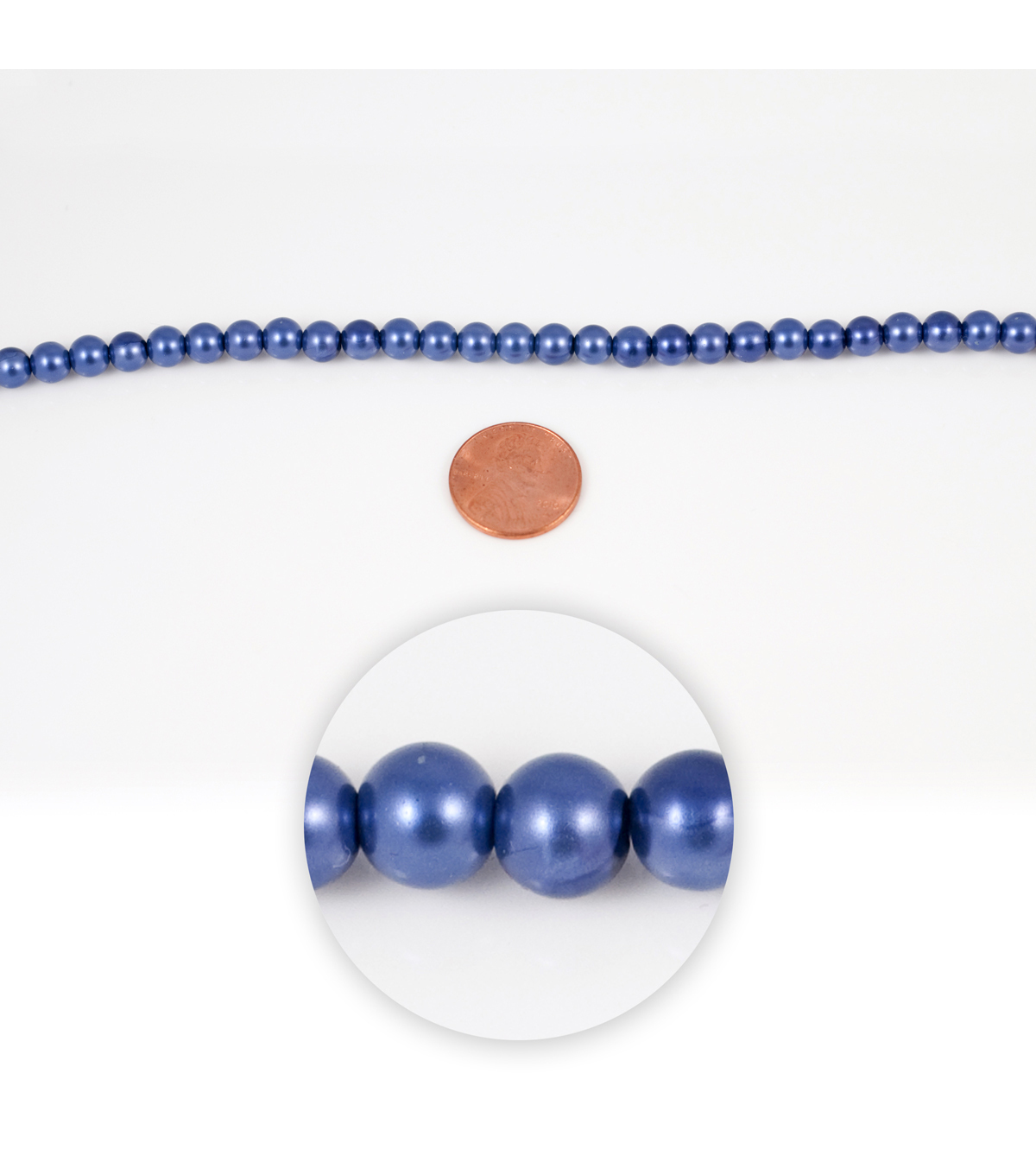 Blue Moon Strung Glass Pearl Beads,Round,Blue
