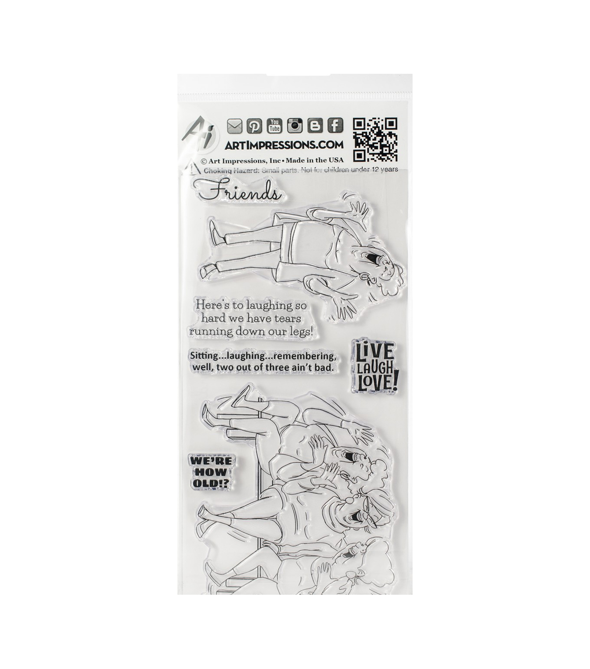 Art Impressions 7 pk Clear Stamps-Live Laugh Love