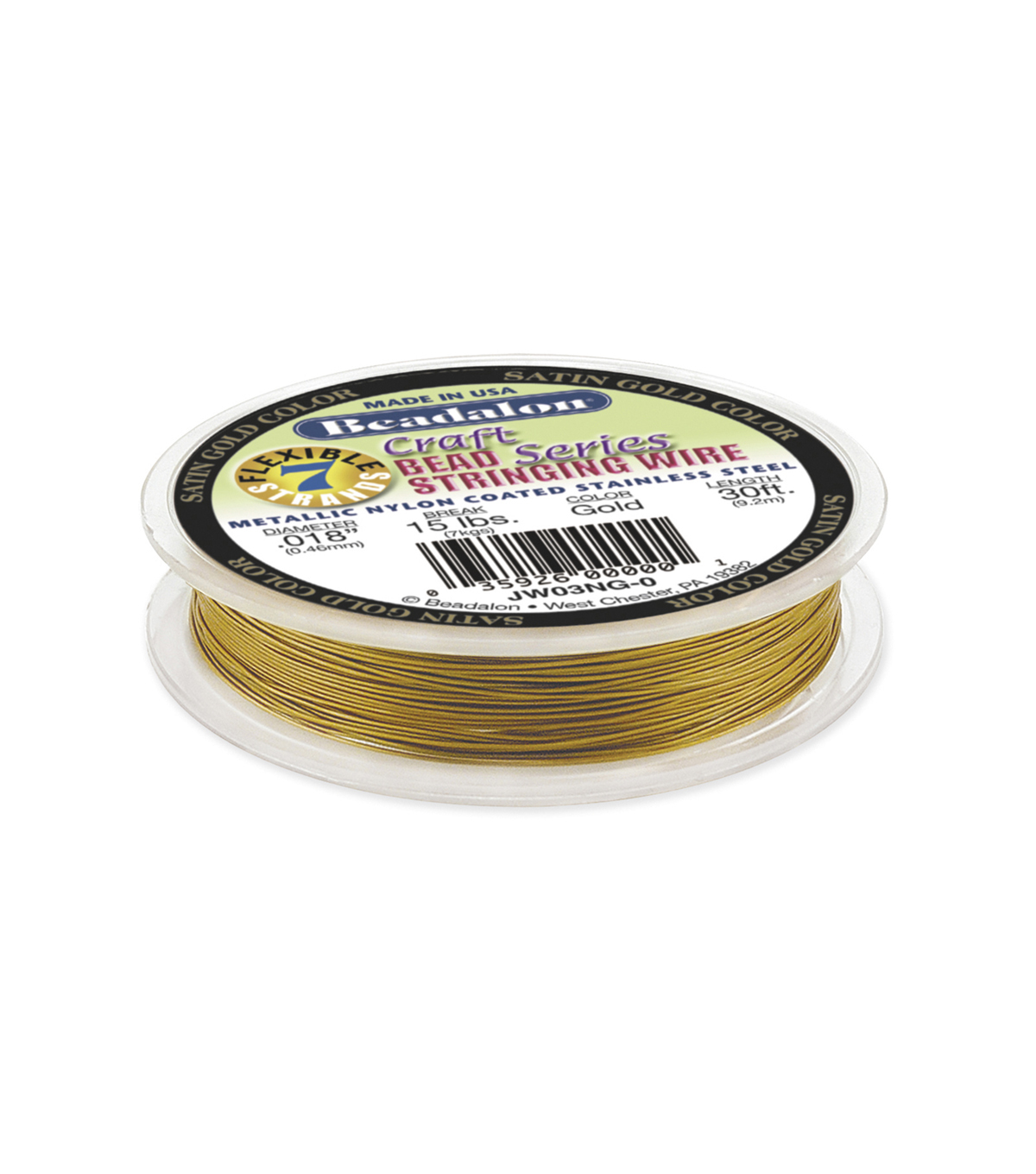 Metallic Nylon Coated Stainless Steel Wire, Gold Color, .018 inch, 30ft.