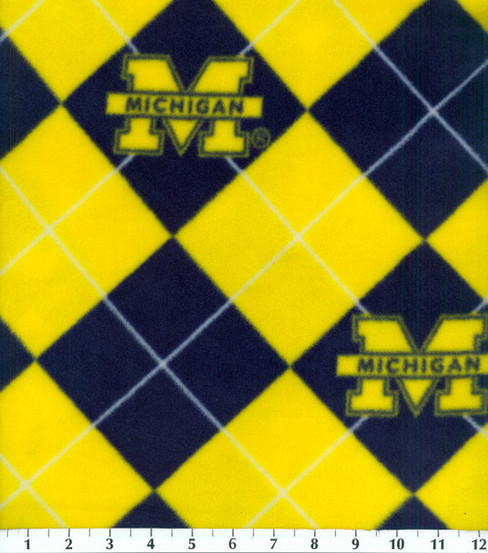 University of Michigan Wolverines Fleece Fabric -Argyle