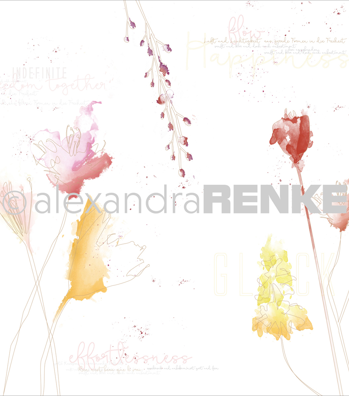 Alexandra Renke Magic Flowers Design Paper 12\u0022X12\u0022-Colourfully Gold