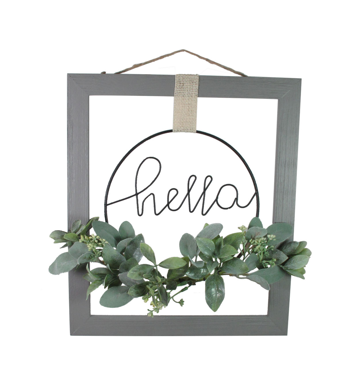 Simply Spring Hello with Floral Wall Decor-Gray