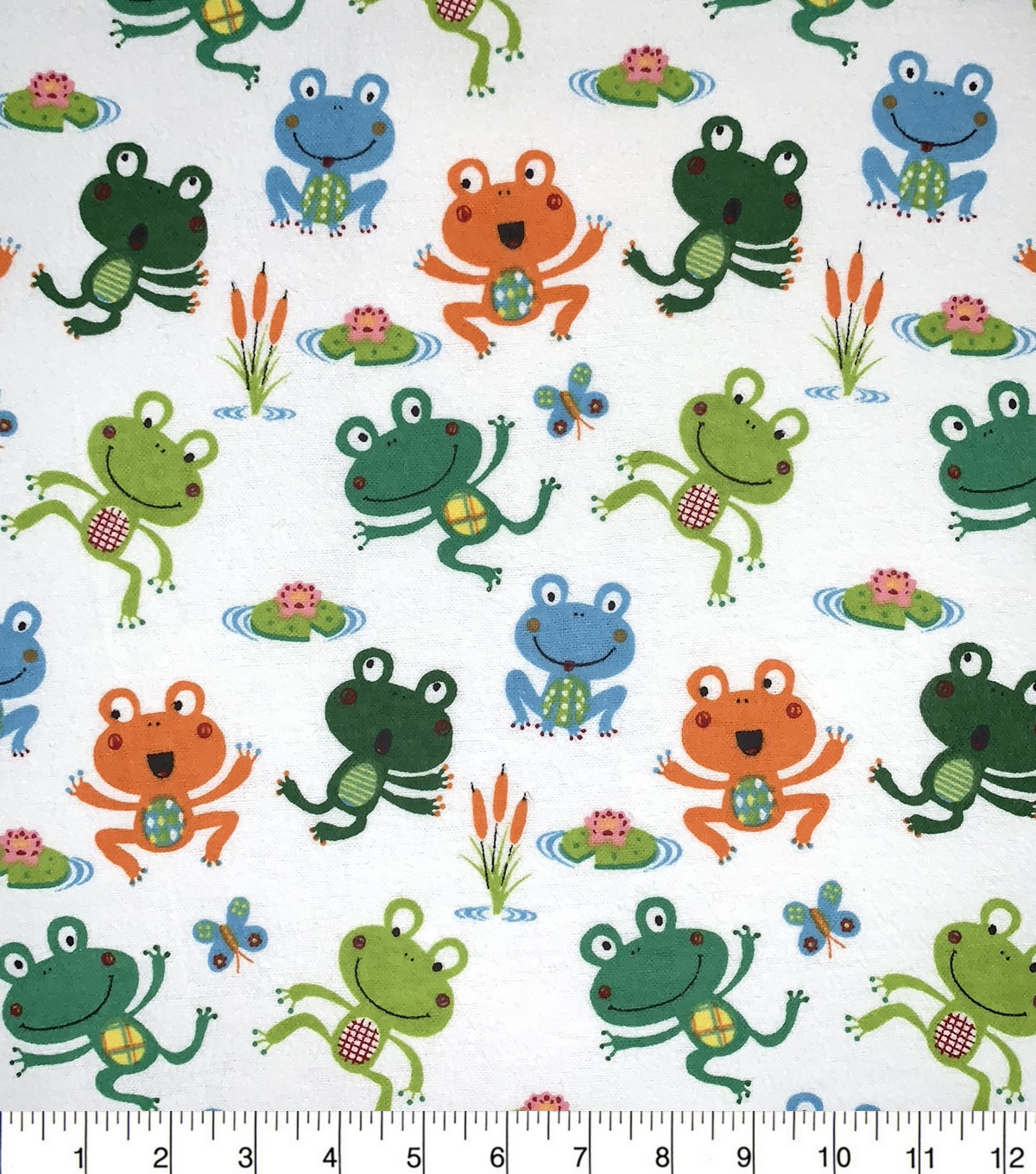 Snuggle Flannel Fabric-Happy Frog Tossed
