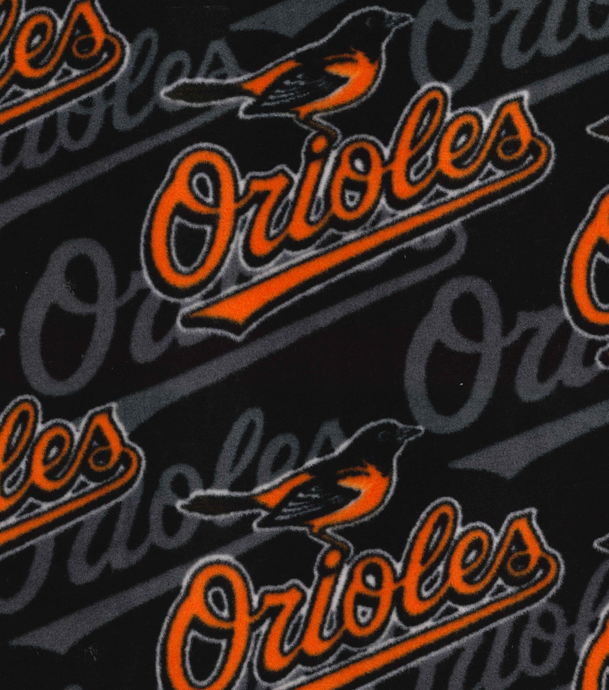 Baltimore Orioles Fleece Fabric -Packed Logo