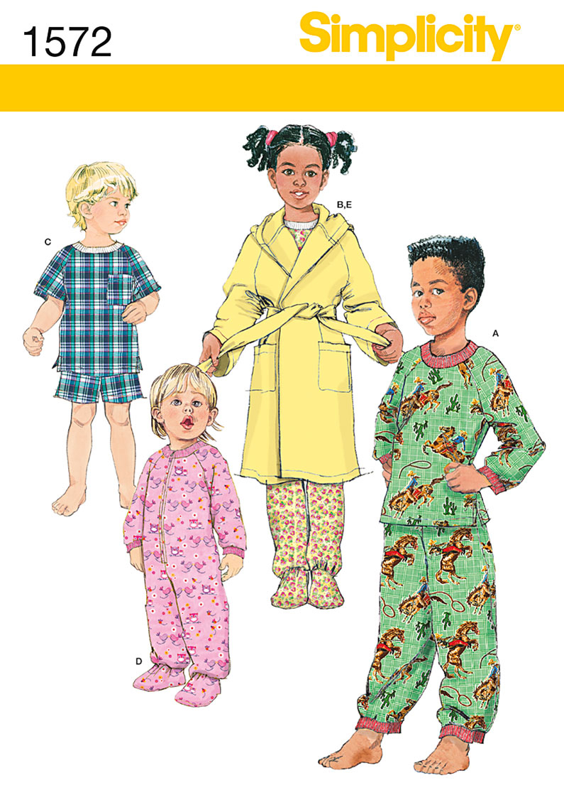 Simplicity Pattern 1572AA Toddlers\u0027 Sleepwear &  Robes-Size 1/2-1-2