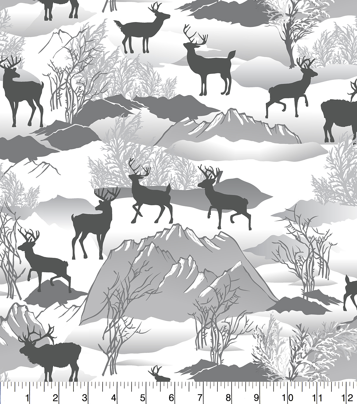 Snuggle Flannel Fabric -Silhouette Deer Winter