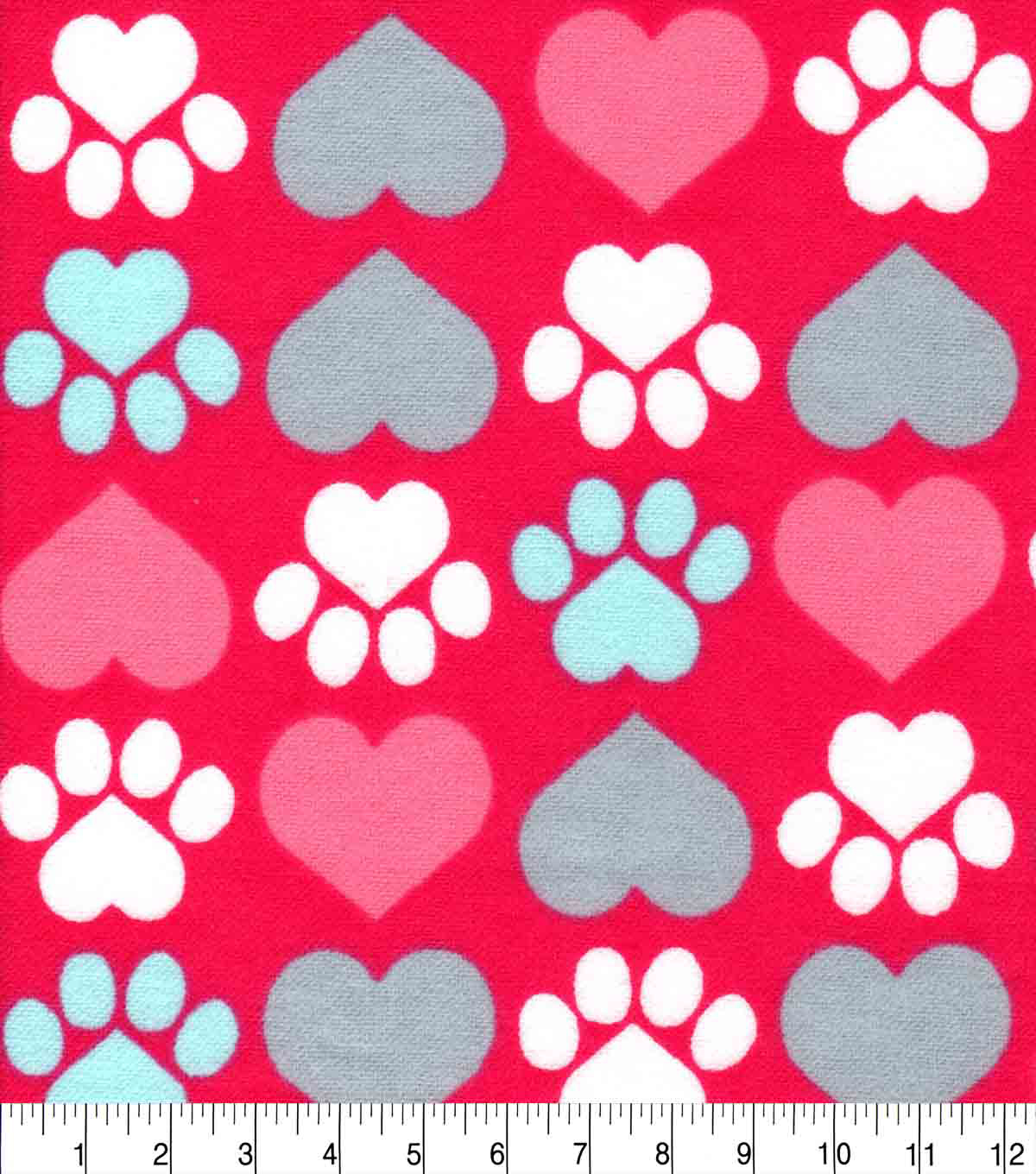 Snuggle Flannel Fabric-Pup Heart Paw On Pink