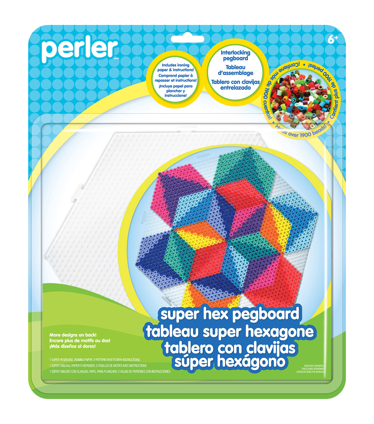 Perler Super Hexagon Pegboard-Clear