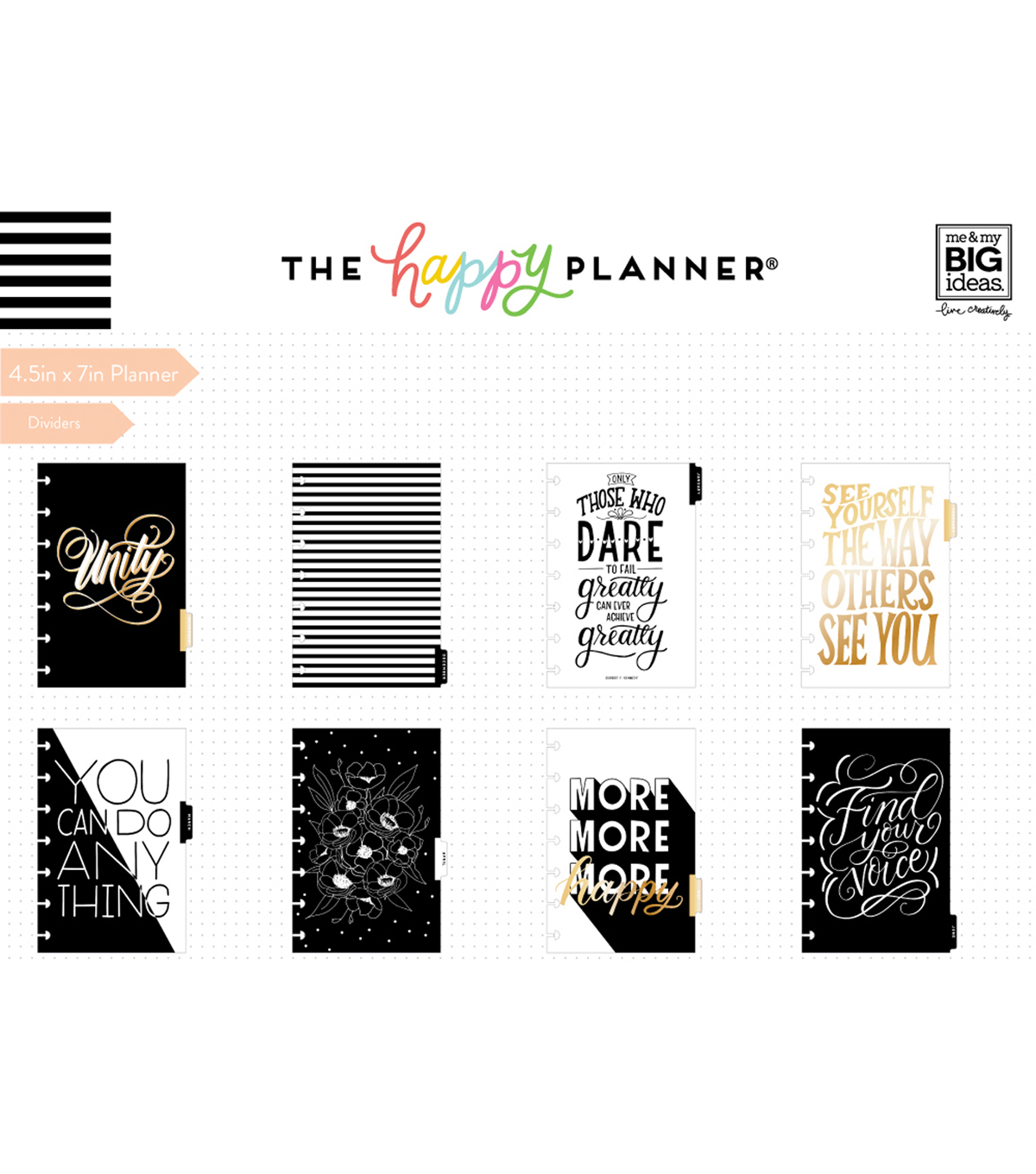 The Happy Planner 12 Month Mini Planner-Black & White Stripes