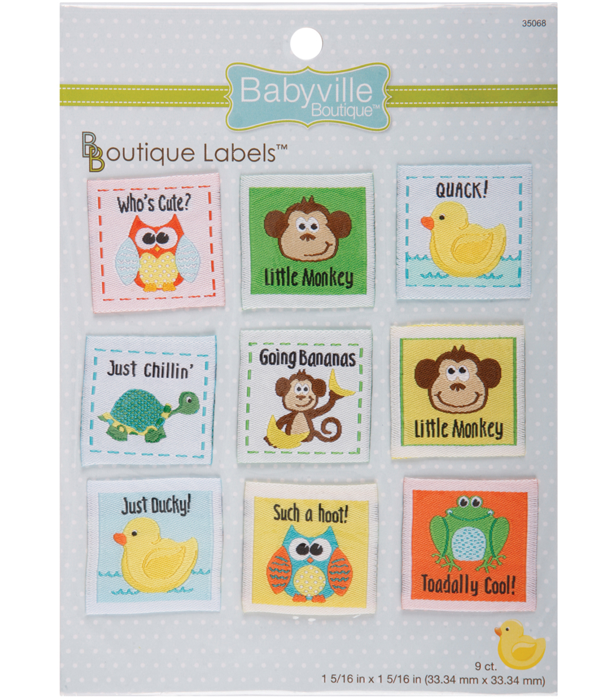 Babyville Boutique 1.31\u0022 x 1.31\u0022 Labels Gender Neutral 9pcs