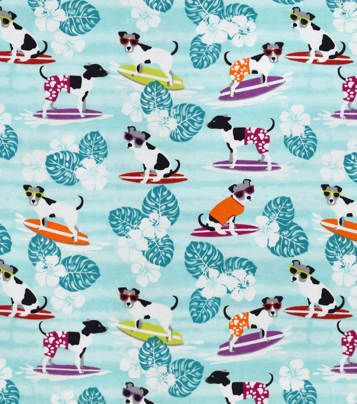 Snuggle Flannel Fabric-Cool Surfing Pup