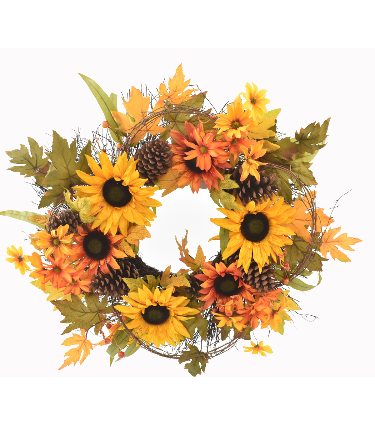 Blooming Autumn Extra Large Sunflower, Pinecone & Leaves Wreath