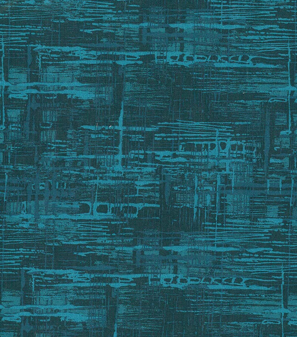 Wide Cotton Fabric-Teal Crosshatch