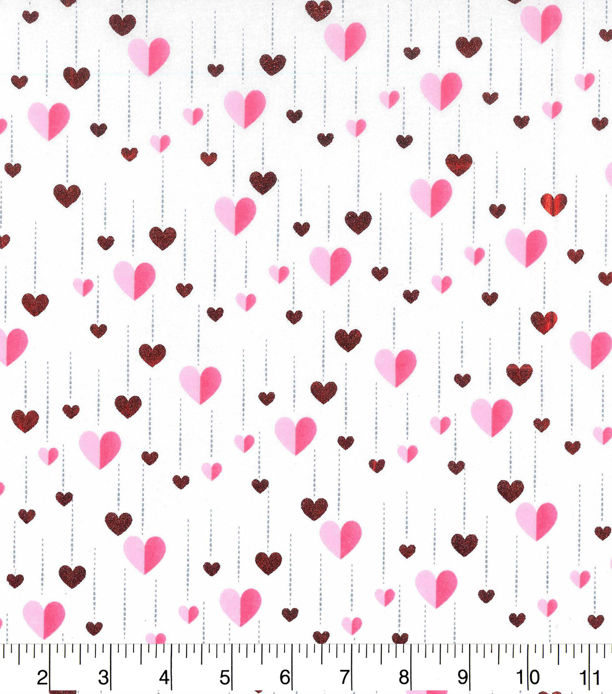 Valentine\u0027s Day Cotton Fabric-Foiled Heart Streamers