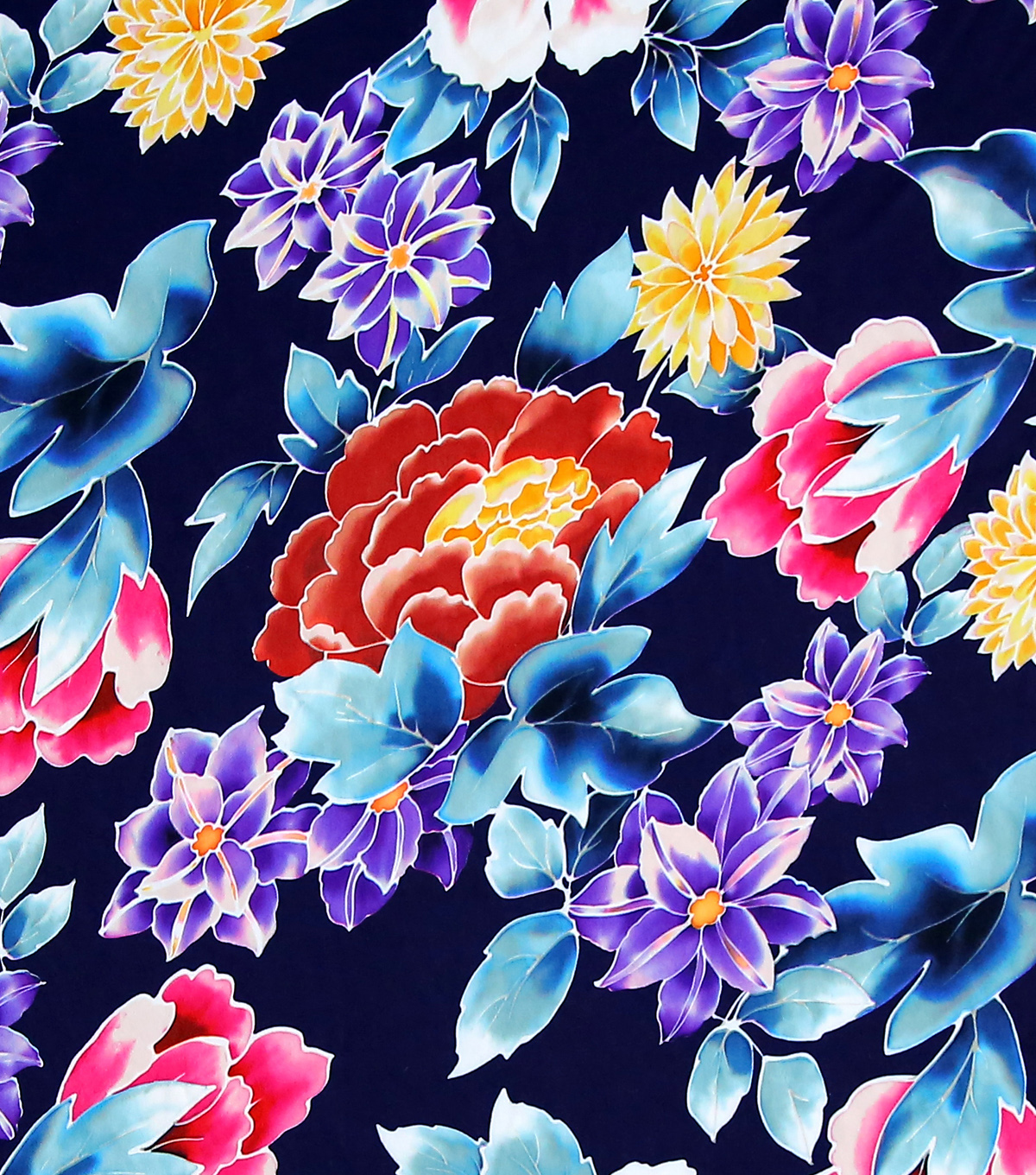 Simply Silky Print Stretch Crepe Fabric 57\u0022-Navy Asian Floral