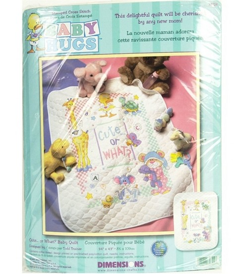 Dimensions Baby Hugs Quilt Stamped Cross Stitch Kit Cute...Or What?