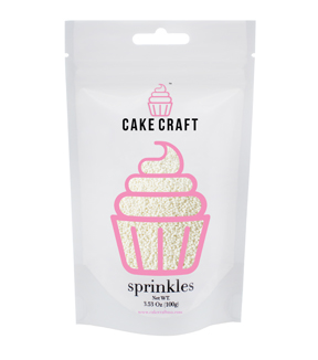 Cake Craft Sprinkles 100g 2mm-White Nonpariels