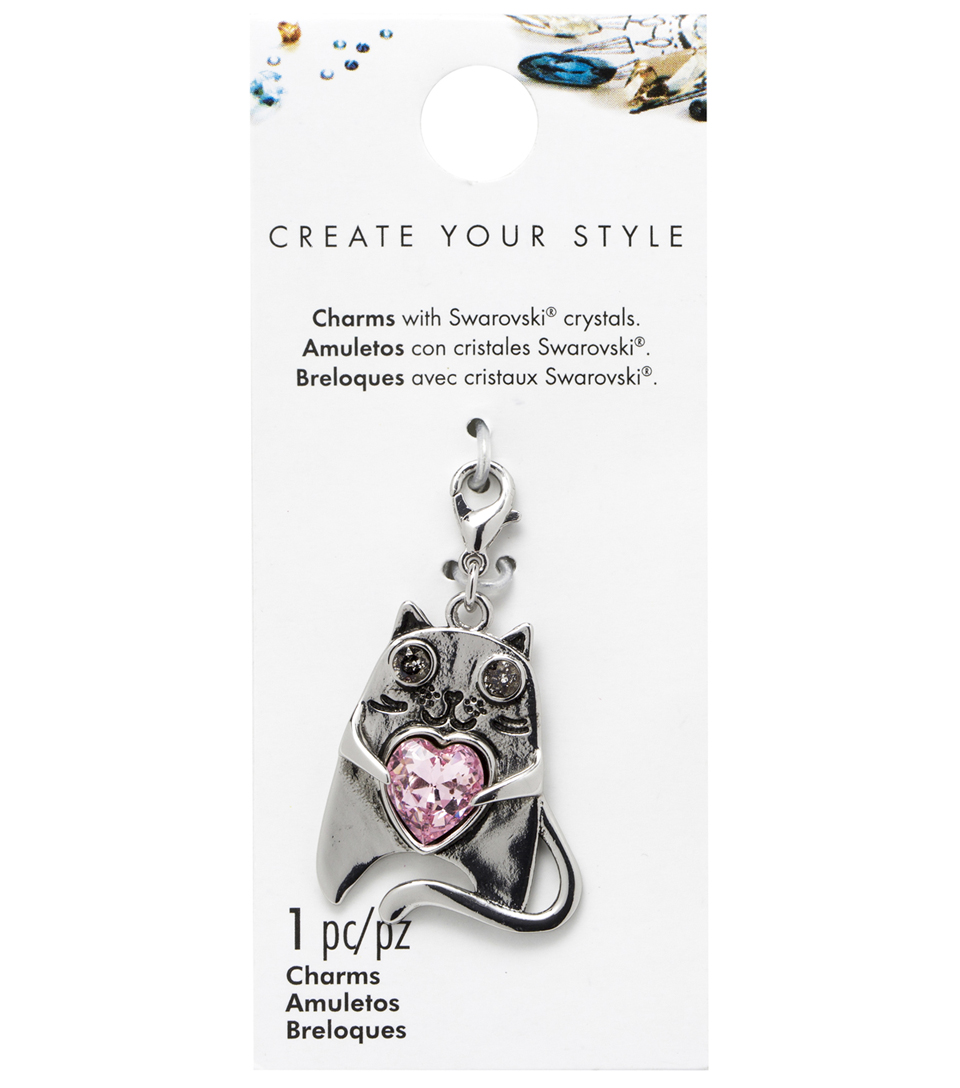 Swarovski Create Your Style Pet Lover Cat Charm-Pink Crystal