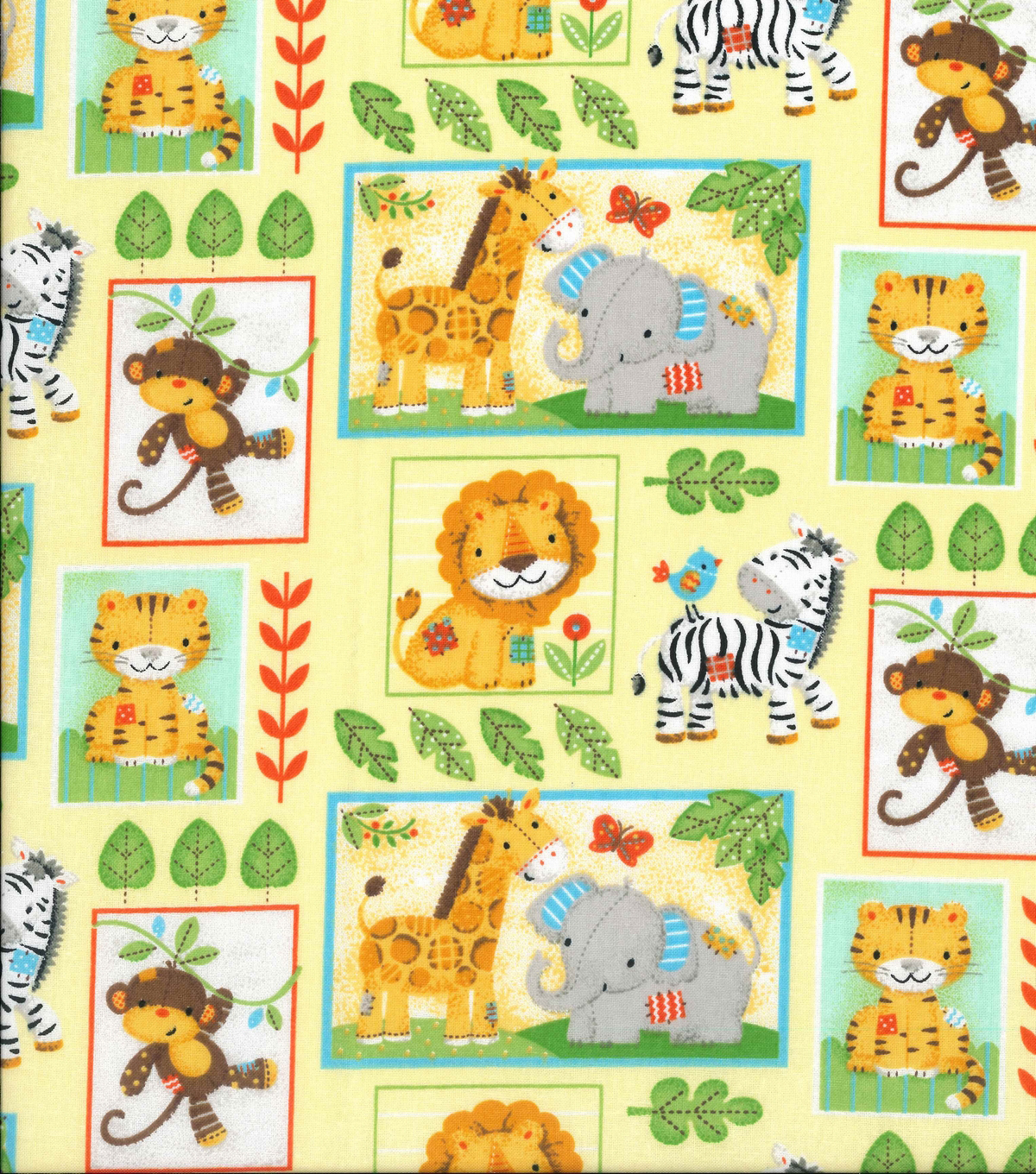 Nursery Cotton Fabric 43\u0022-Zoo Animal Blocks