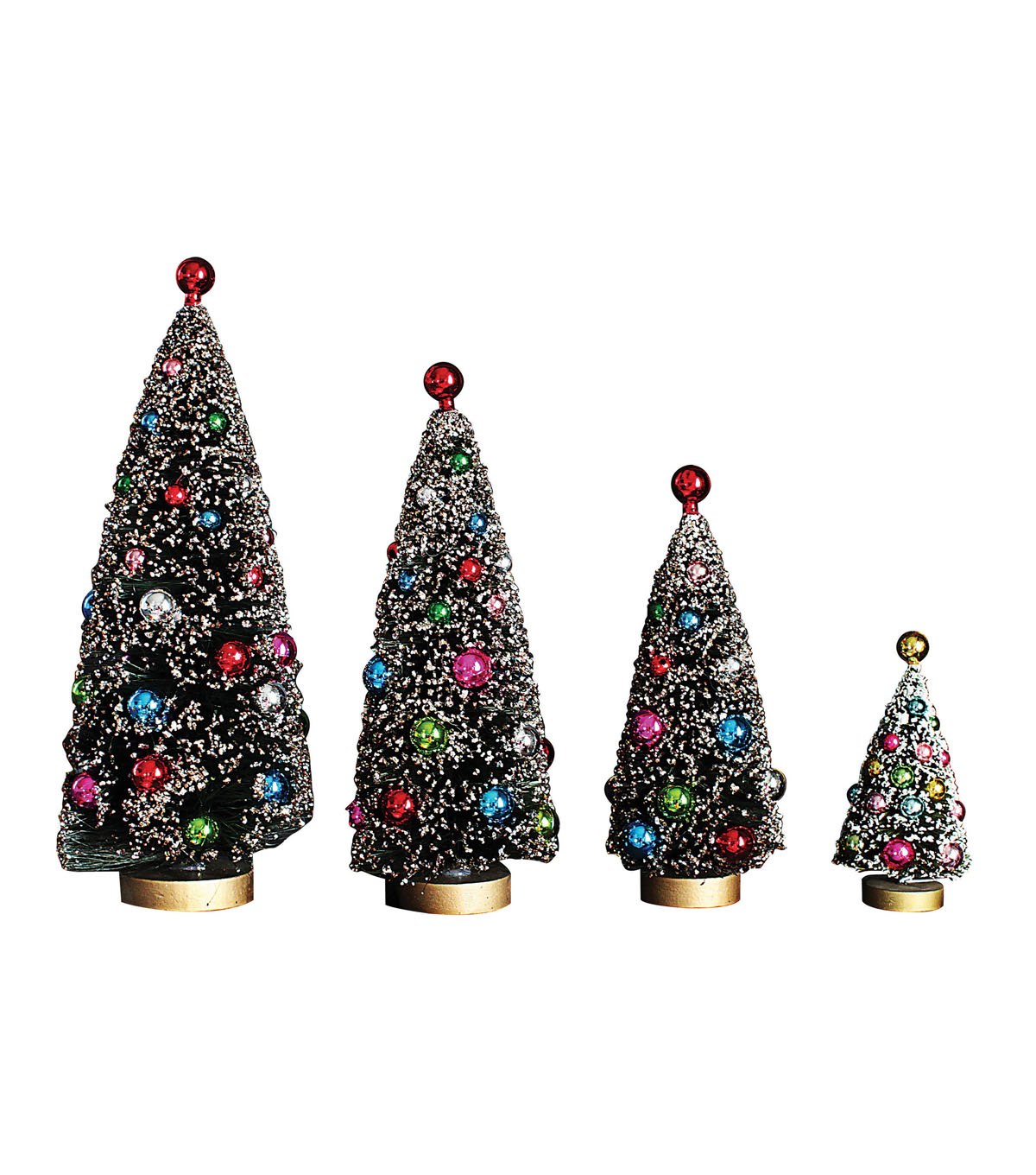 Christmas 4 pk Bottle Brush Trees with Ornaments-Multi Color