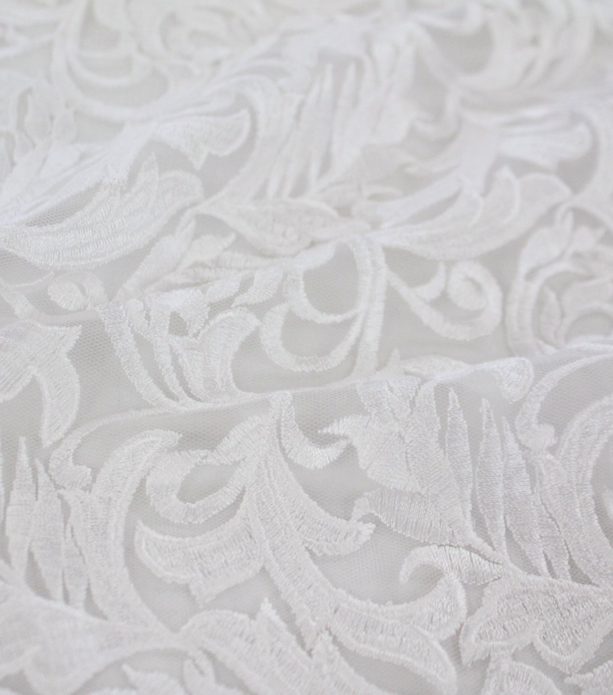 Save The Date Heavy Embroidered Mesh Fabric 52\u0027\u0027-Bright White