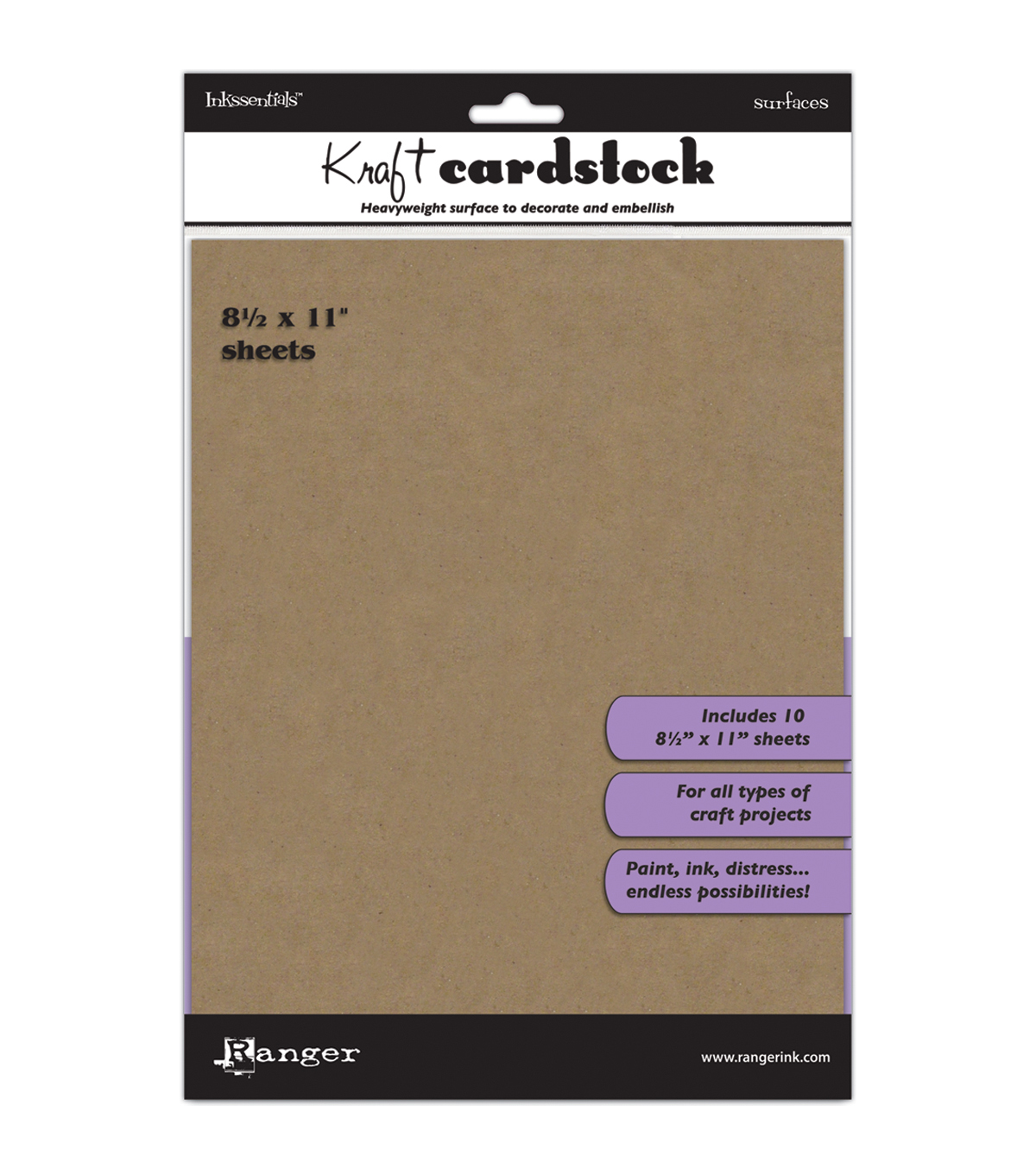 Ranger Inkssentials Surfaces Kraft Cardstock 8.5\u0022x11\u0022