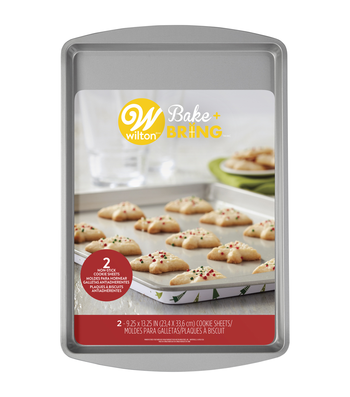 Wilton Christmas Bake & Bring 2 pk Cookie Sheets-Trees
