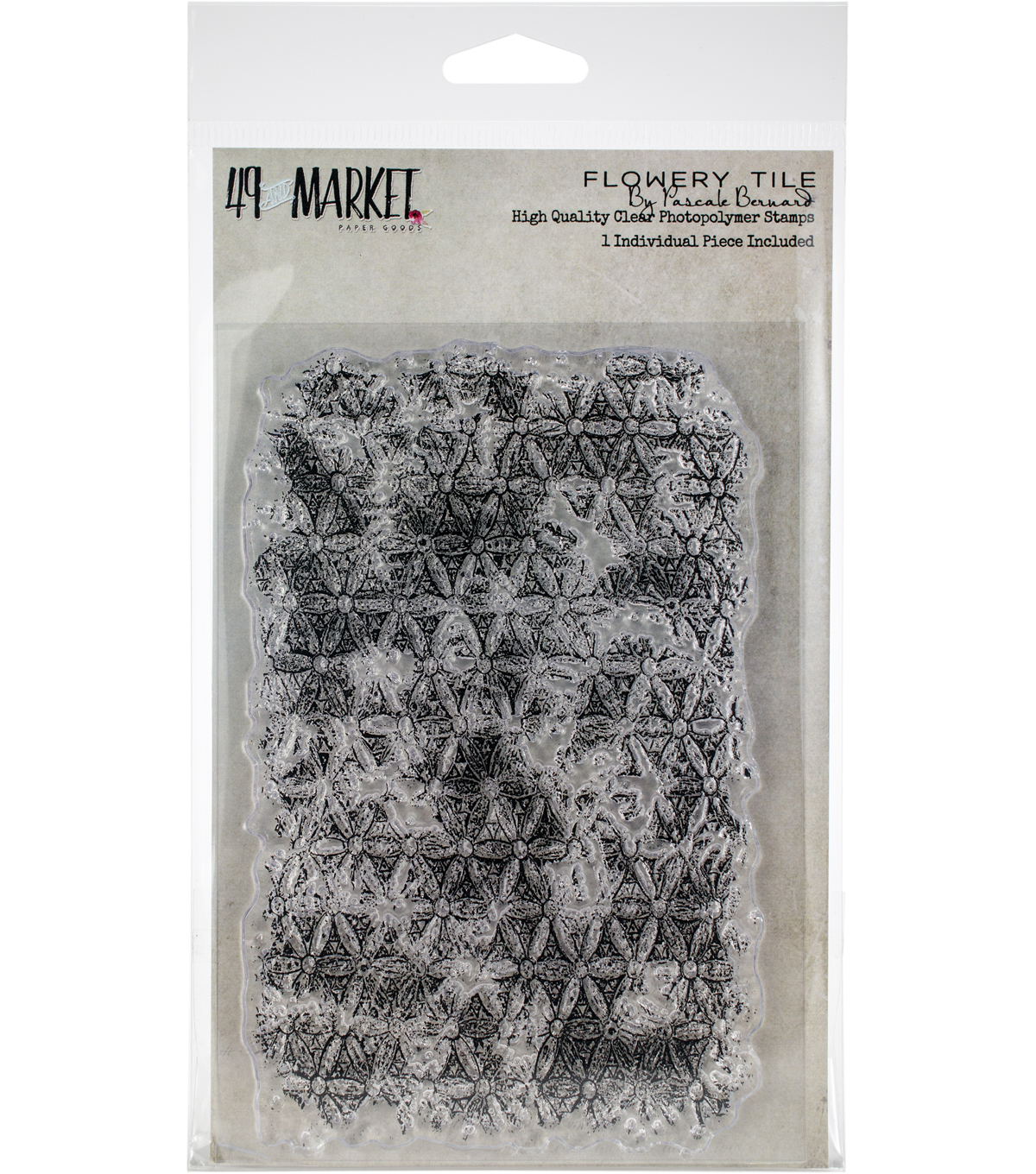 49 And Market Pascale Bernard Clear Photopolymer Stamp-Flowery Tile