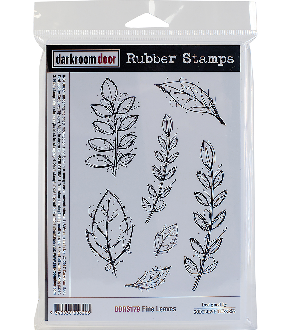 Darkroom Door Cling Stamps 7\u0022X5\u0022-Fine Leaves