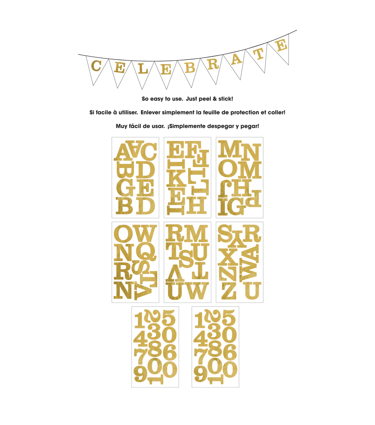 Me & My Big Ideas Century Gold Foil Large Alphabet Stickers Uppercase