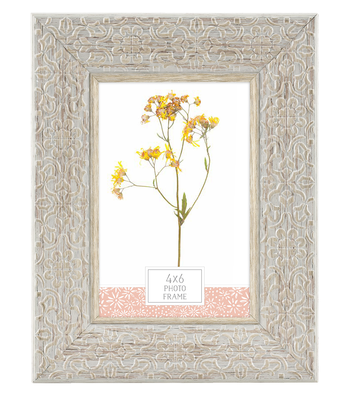 Plastic & Glass Picture Frame 4\'\'x6\'\'-Gray Ornate Floral Embossed ...