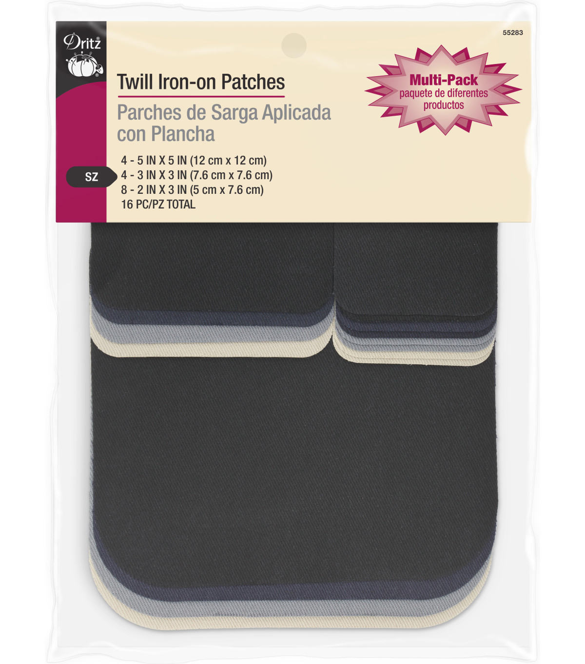 Dritz 16 pk Twill Iron-On Patches-Assorted