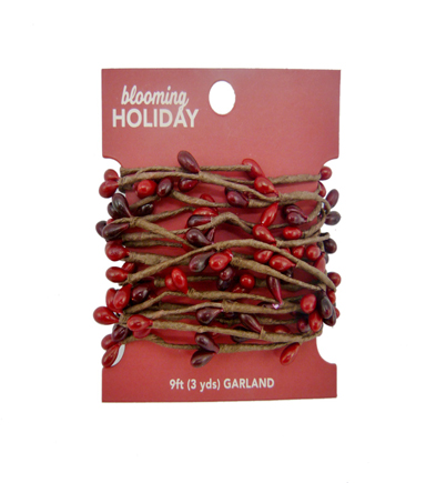 Blooming Holiday Christmas 9\u0027 Pepper Berry Roping Garland-Red