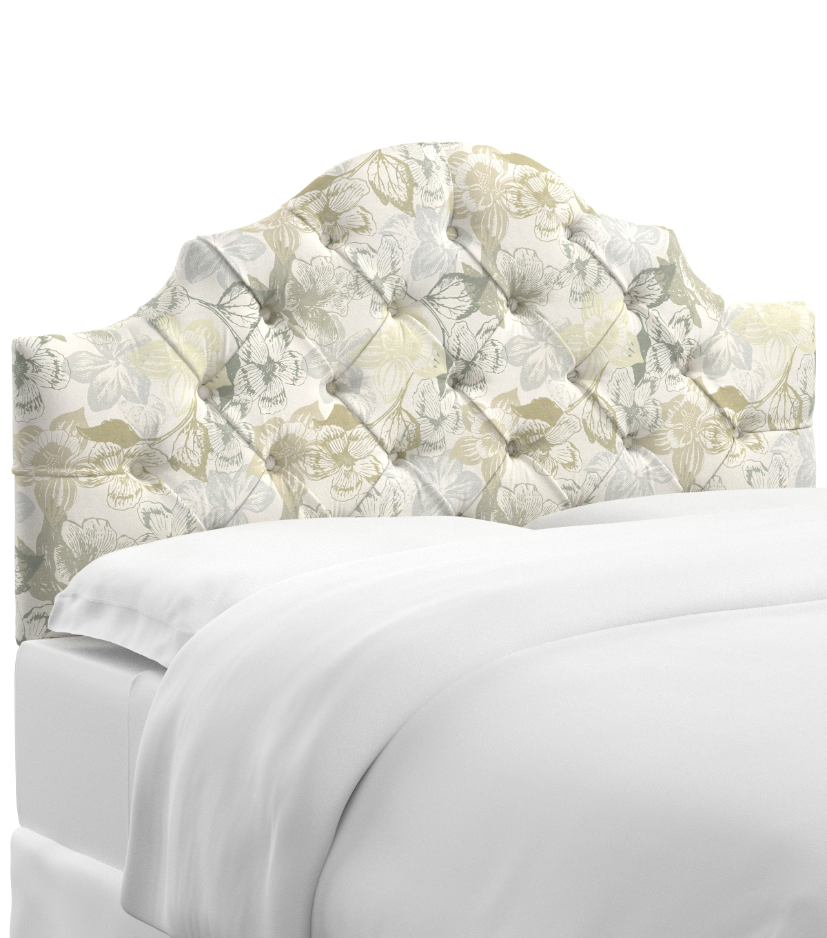 Skyline Furniture Tufted Notched Headboard-Twin, Peyton Linen