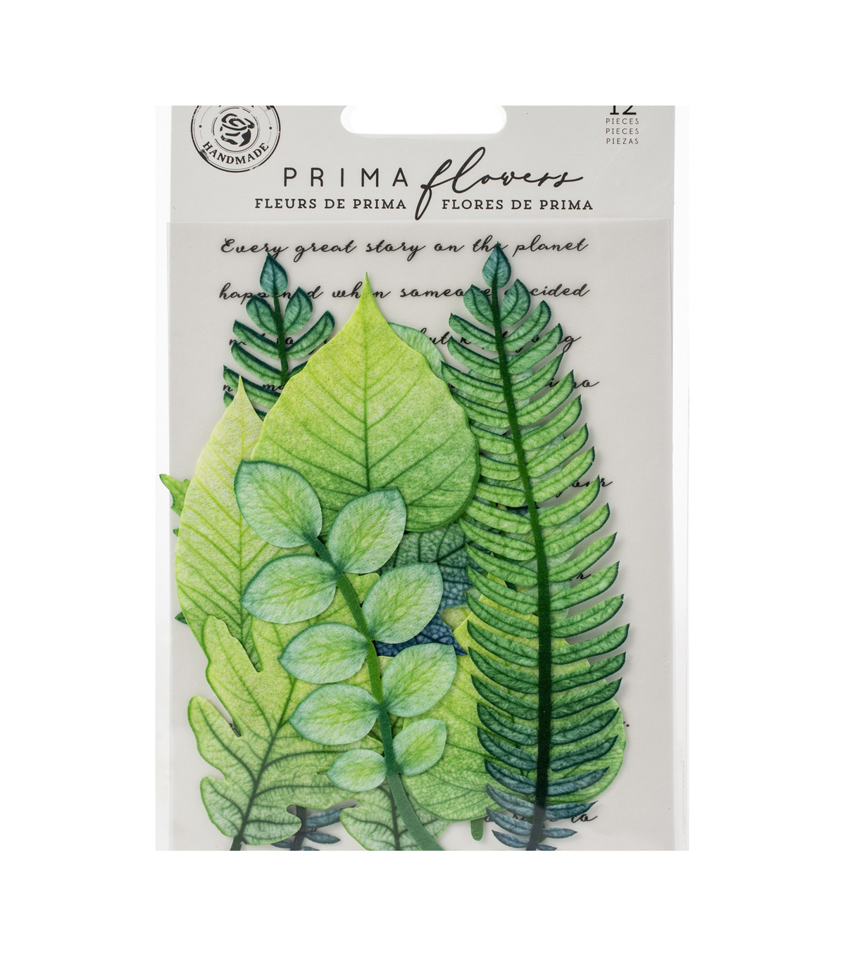 Prima Marketing Printed Fabric Leaf Embellishments 12/Pkg-Mountain Pine
