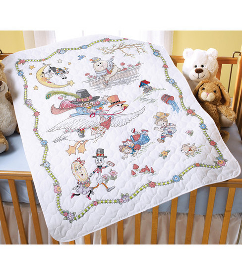 Bucilla Stamped Cross Stitch Crib Cover Mother Goose