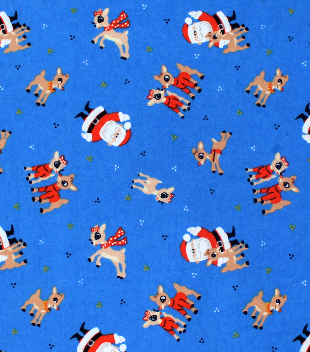 Christmas Rudolph the Red Nosed Reindeer Flannel Fabric-Santa