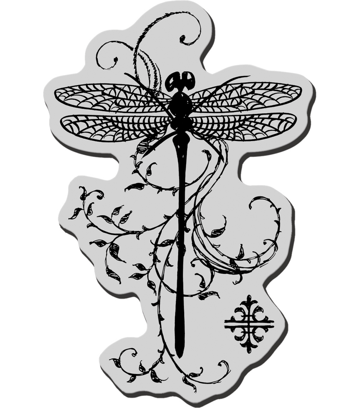 Stampendous Cling Rubber Stamp-Dragonfly Vine