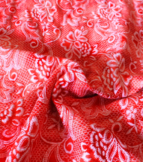 Reversible Printed Knit Fabric -Red Tie Dye