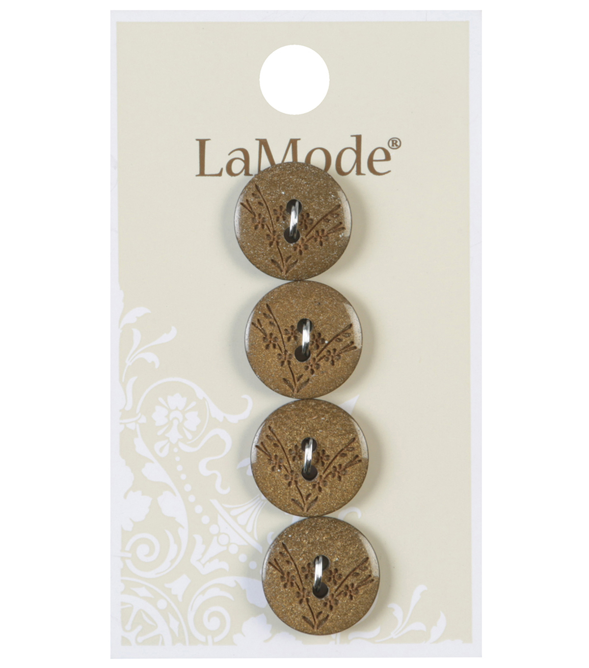 LaMode 2 Hole Gold Buttons With Etched Flowers