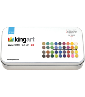 KINGART Paint Set In Tin Case 36/Pkg-Watercolor