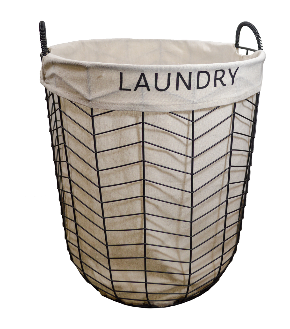 Large Wire Chevron Lined Hamper-Laundry