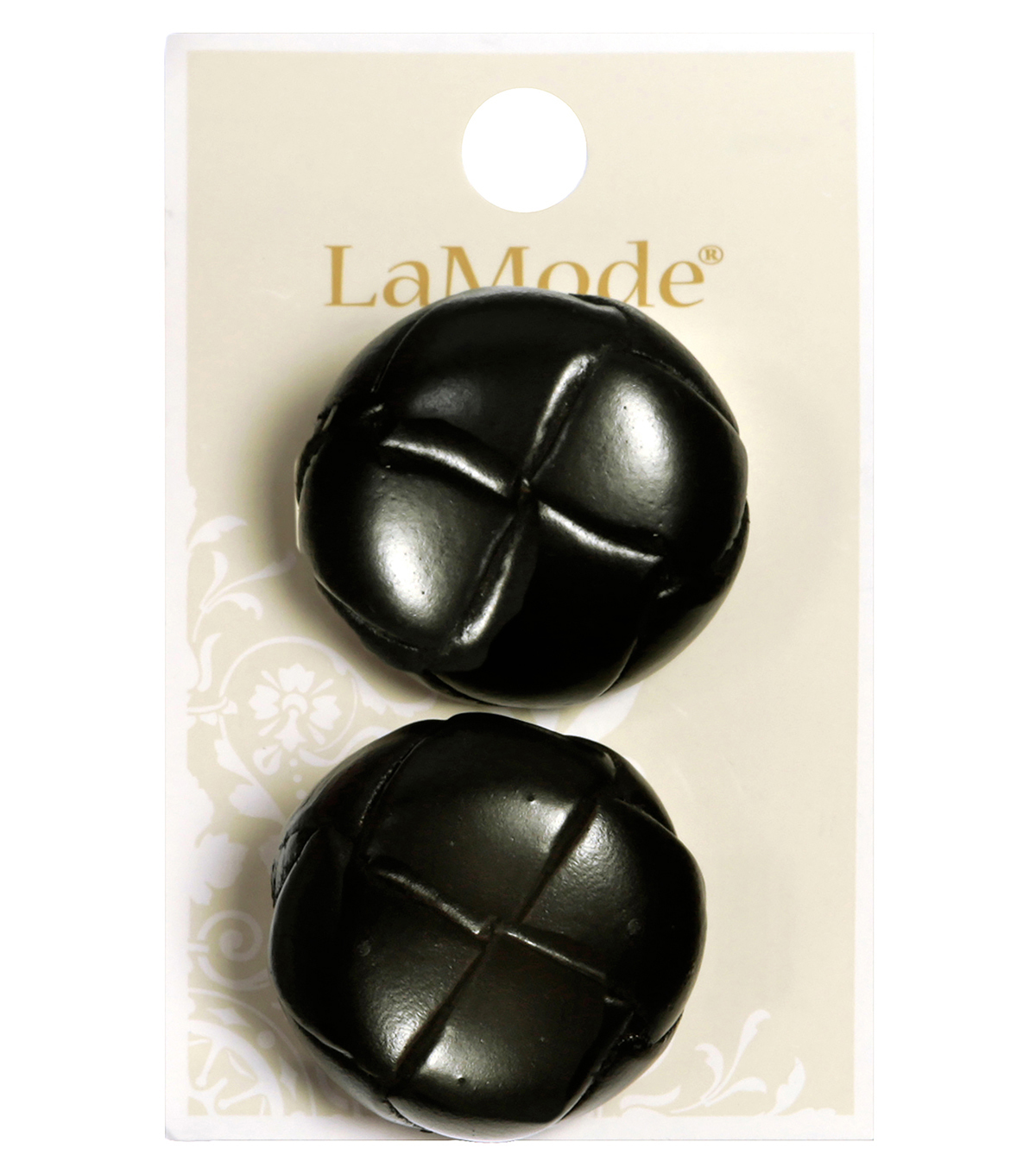 LaMode Brown Leather Woven Pattern Button