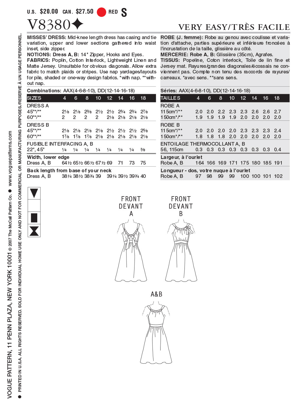 Mccall Pattern V8380 Dd (12-14--Vogue Pattern