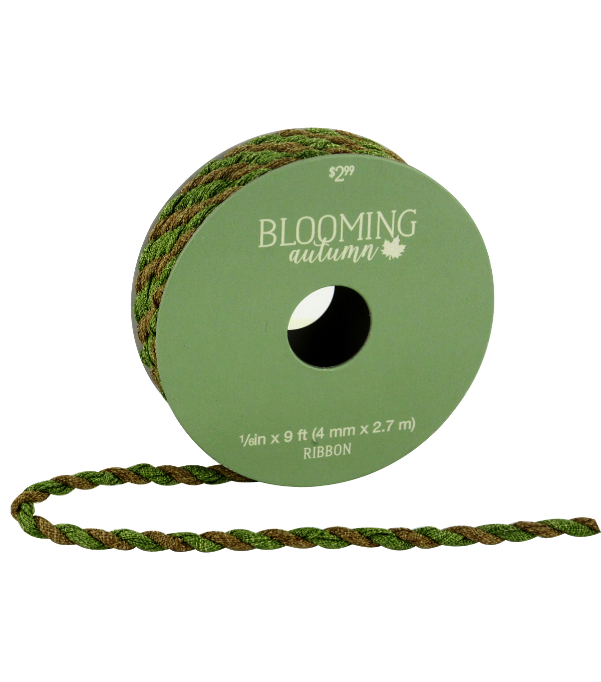 Blooming Autumn Twist Cord Ribbon 1/6\u0027\u0027x9\u0027-Green & Natural