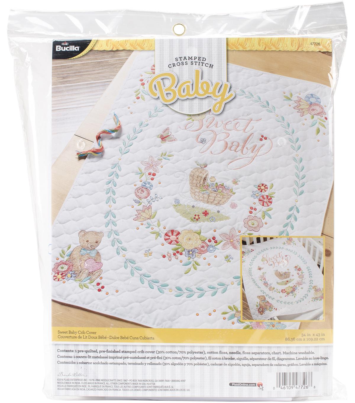 Sweet Baby Crib Cover Stamped Cross Stitch Kit 34x43 Joann