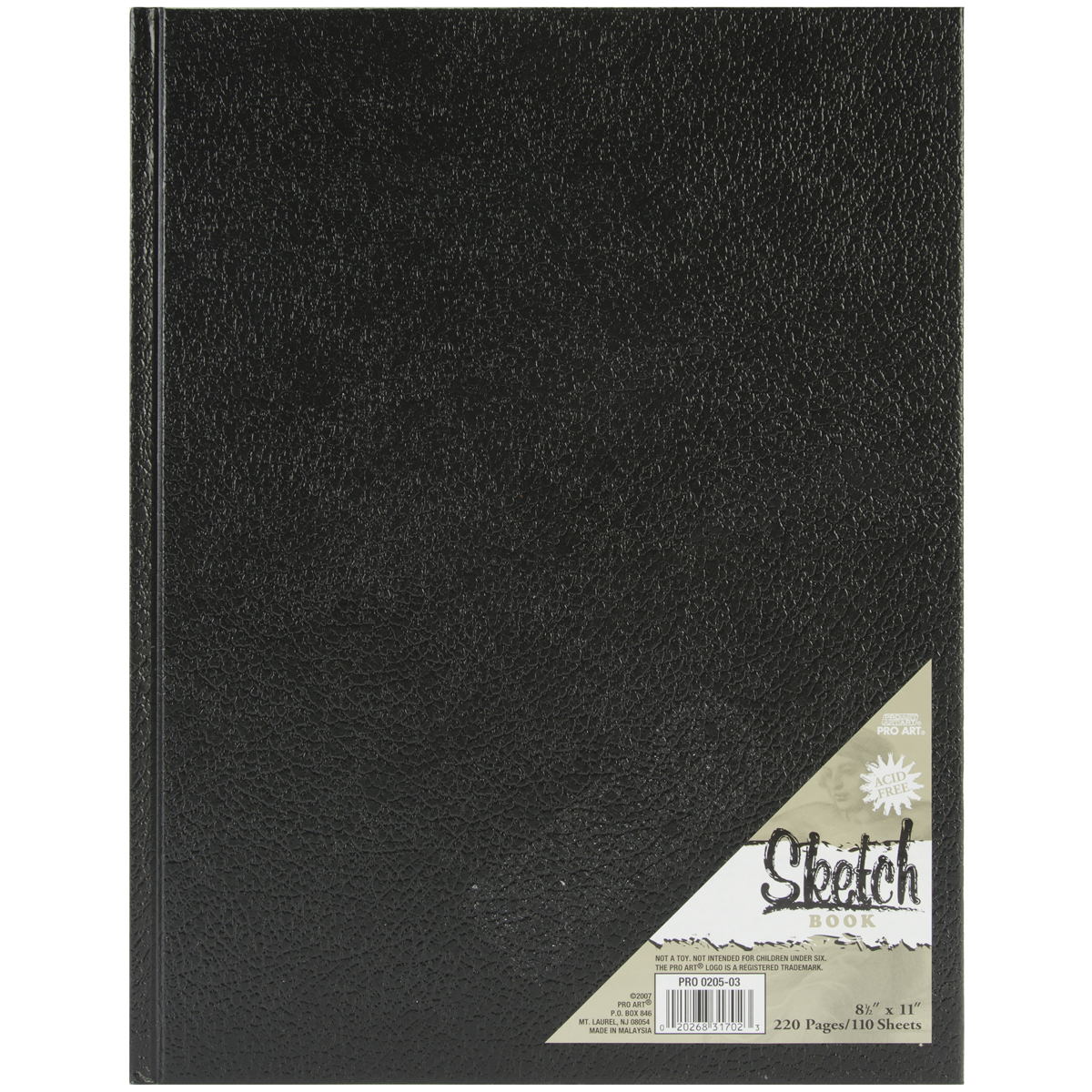 Pro Art Hard Bound Sketch Book Black 8.5\u0022x11\u0022