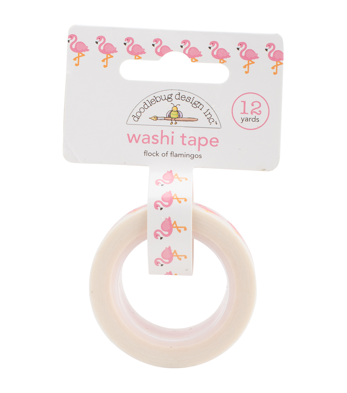 Doodlebug Washi Tape 15mm X12yd-Flock Of Flamingos
