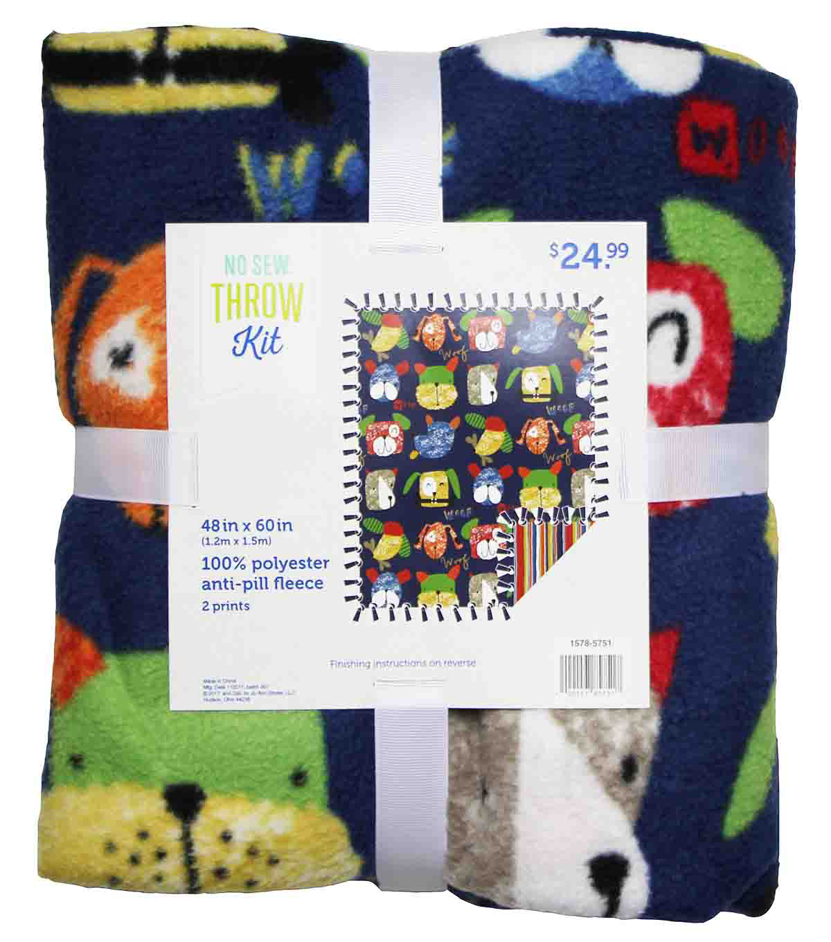 No Sew Fleece Throw 48\u0027\u0027x60\u0027\u0027-Dog Faces